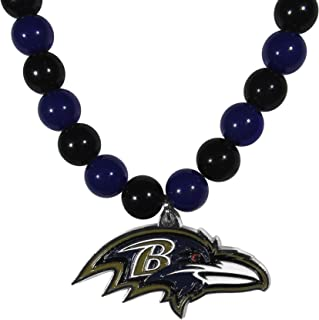 NFL Siskiyou Sports Womens Baltimore Ravens Fan Bead Necklace 24 inch Team Color