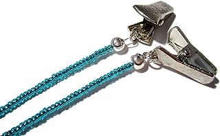 ATLanyards Blueish Teal Clip Eyeglass Holder - Beaded Clip Eyeglass Lanyard