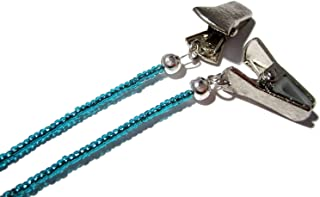 ATLanyards Blueish Teal Clip Eyeglass Holder - Beaded Clip Eyeglass Lanyard