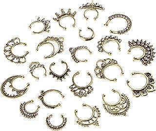 kesoto 21 Pieces Fake Septum Nose Ring No Piercing Hanger Clip On, Sttainless Steel Illusion Nose Studs For Women Men - Antique Bronze