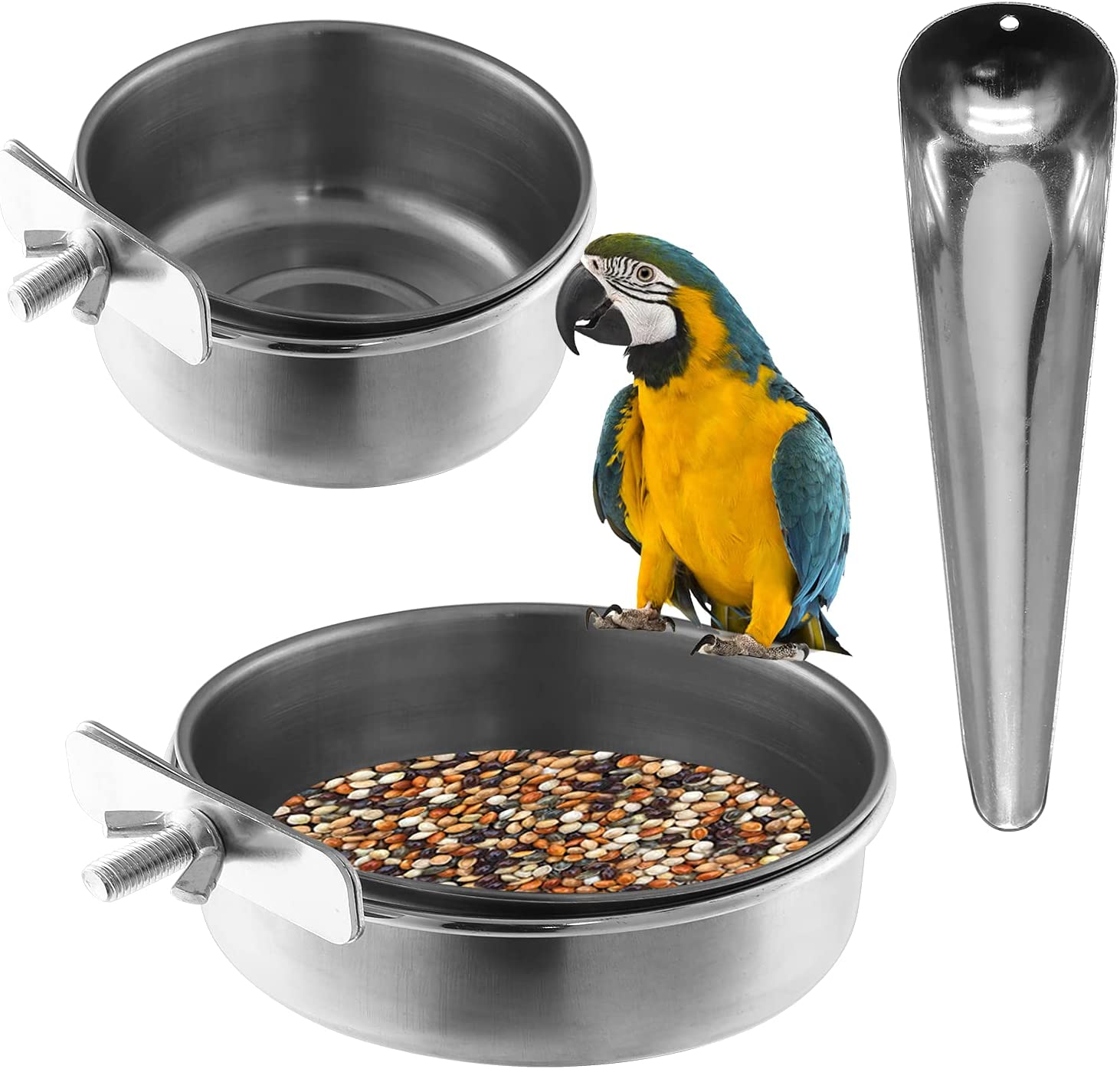 Trust Yoohey Parrot Feeding Cups with Industry No. 1 Bird Feeder Scoop Stainless Stee