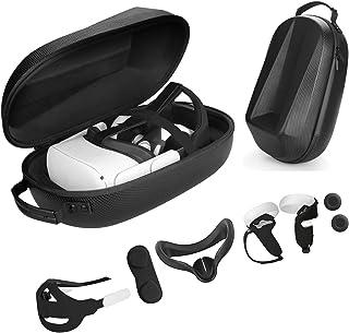 Vakdon Étui de Transport 7 en 1 pour Casque Oculus Quest 2, Sangle de Tête + Silicone VR Face Cover + Grip Cover, Comprend...