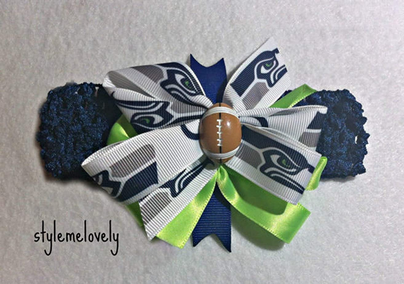Seattle Seahawks Baby Girl Boutique Bow Crocheted Headband- Fits newborn- adult