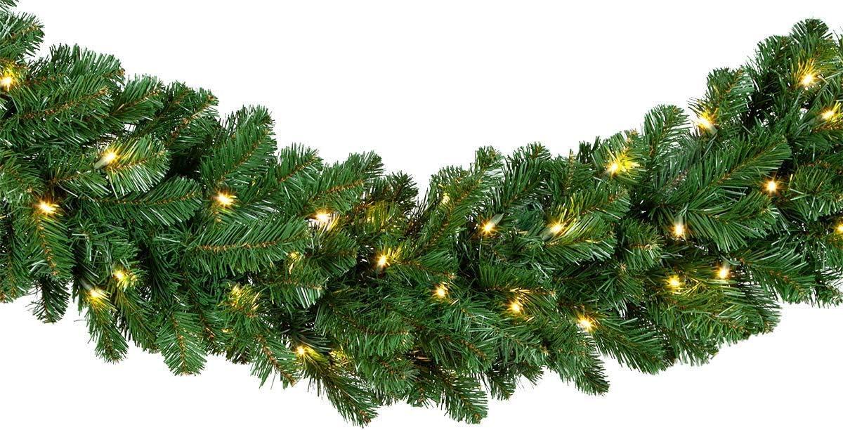 Red free shipping Denver Mall Sleigh Prelit Oregon Fir Grade Garland Commercial Christmas