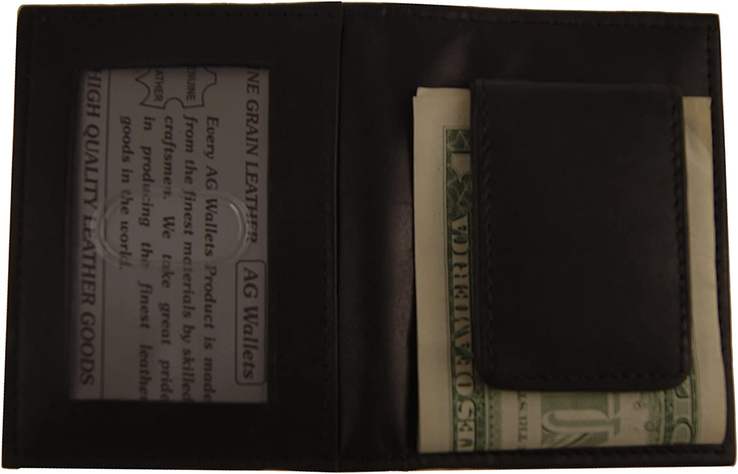 AG Wallets Genuine Leather Magnetic Front Pocket Money Clip Wallet with Outside ID Bifold Design
