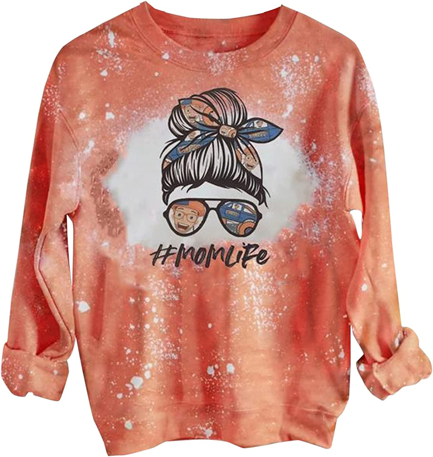 Crewneck Blouses for Women Graphic Tie Dye Printed Sweatshirt Casual Loose Long-Sleeved T Shirt Basic Pullover Top Plus Size