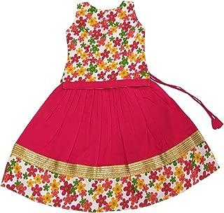 Pattu Pavadai Kids Floral Top and Red Langa