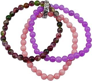 Handmade Jewelry Manufacturer Beaded Pink Opal Quartz, Tourmaline Quartz & Purple Quartz, Stretchable Bracelet with Ring Jaipur Rajasthan India