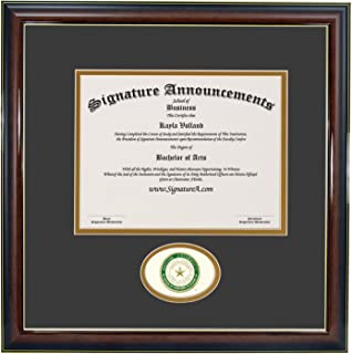 Signature Announcements Baylor University (BU) Undergraduate and Graduate Graduation Diploma Frame with Sculpted Foil Seal (Gloss Mahogany w/Gold Accent, 16 x 16)
