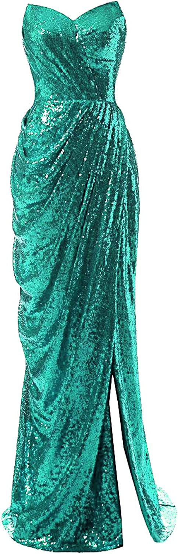 Evening Dress for Women Formal Sequins Split Long Prom Dresses Bridesmaid