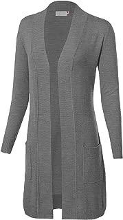 doublefive Women's Solid Basic Long Sleeve Open Front Pockets Duster Soft Stretch Longline Sweater Knit Cardigan - S~3X