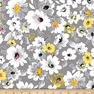 Quilting Treasures Fabrics Nadine Packed Floral Grey Fabric by the Yard