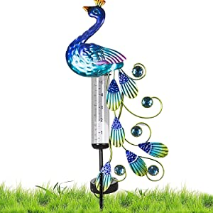 CANDEN Peacock Rain Gauge Outdoor Decorative with Solar Powered Lights, Butterfly Metal Garden Stakes with Glass Rain Measure Gauges for Yard, Garden, Lawn(Peacock)