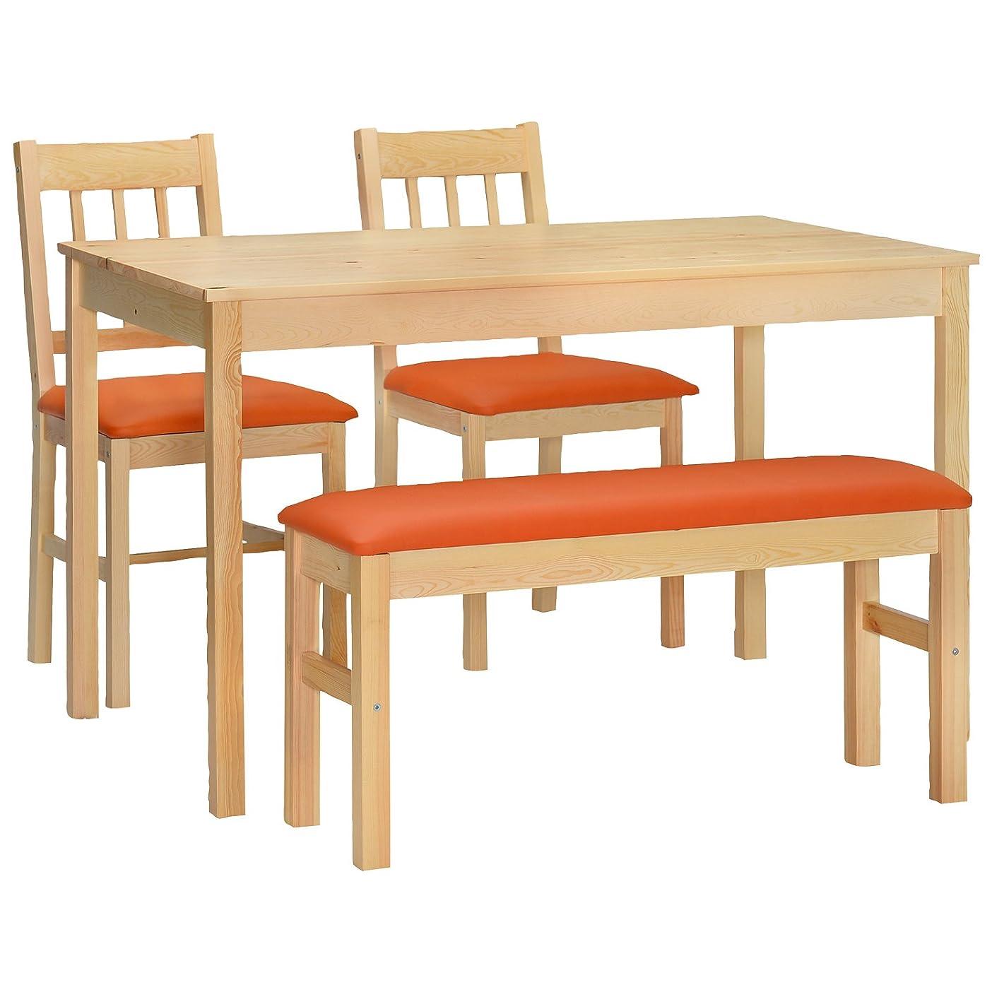 禁止する寄稿者インゲンタマリビング(Tamaliving) ダイニング4点セット ハイサイ [北欧テイスト家具/木製/ナチュラル] テーブル×1台?イス×2脚?ベンチ1台 (オレンジ) 50001568