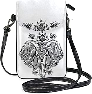 ZZKKO Mini-Umhängetasche mit Elefantenmotiv und Tiermotiven, für Handy, Geldbörse, Geldbörse, Handtasche, Leder, für Dame...