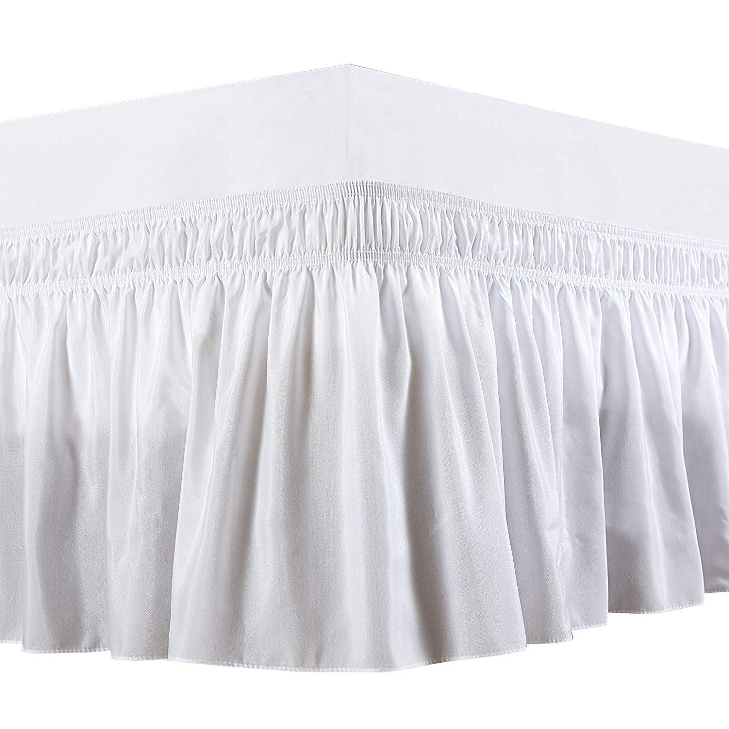 Wrap Around Bed Skirt -Polyester/Microfiber Elastic Dust Ruffle Three Fabric Sides Silky Soft & Wrinkle Free Classic Stylish Look in Your Bedroom (White, Twin /14) by-Rajlinen …