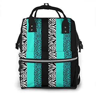 Omigge Multi-Function Travel Bags, Baby Diaper Bag Backpack for Mom, School Bags Large Capacity,Waterproof and Stylish Personalized Design - Blue_Leopard_and_Zebra_Animal_Print_Accent