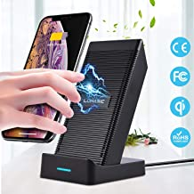 Fast Wireless Charger with Cooling Fan, Charging Stand Pad Max. 10W for Samsung Galaxy S10 Plus S9 Plus S8 Plus S10E S7 S6 Note 9 8, Apple iPhone 11 Pro Max XR X XS, Qi-Enabled Device, No AC Adaptor