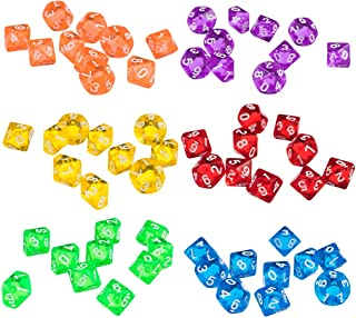 HOMYL Set of 60 Pieces Ten Sided D10(0-9) Dice Die for D&D Party Pub Bar Casino Poker Card Dice Guessing Game Accessories