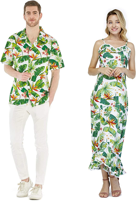Couple Matching Hawaiian Luau Cruise Outfit Shirt Vintage Dress Bird of Paradise White