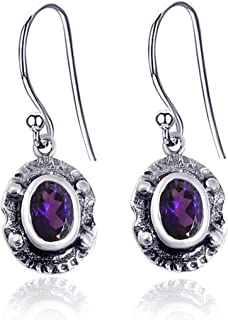Orchid Jewelry 1.36 CTW Natural 7X5MM Oval Purple Amethyst 925 Sterling Silver Dangle Earrings For Women – A February Birt...