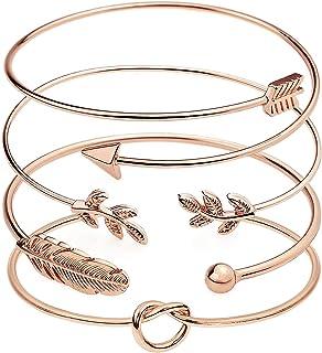 Suyi 4 Pièces Bracelet Manchette Réglable Bracelet en Fil Ouvert Ensemble De Bracelets Enveloppants Empilables pour Femmes