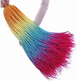 5 Packs Senegal Twist Crochet Braids Hair Extensions Rainbow Colored Senegaless Twist Braiding Bulk Hair Ombre Orange Yellow Blue Purple