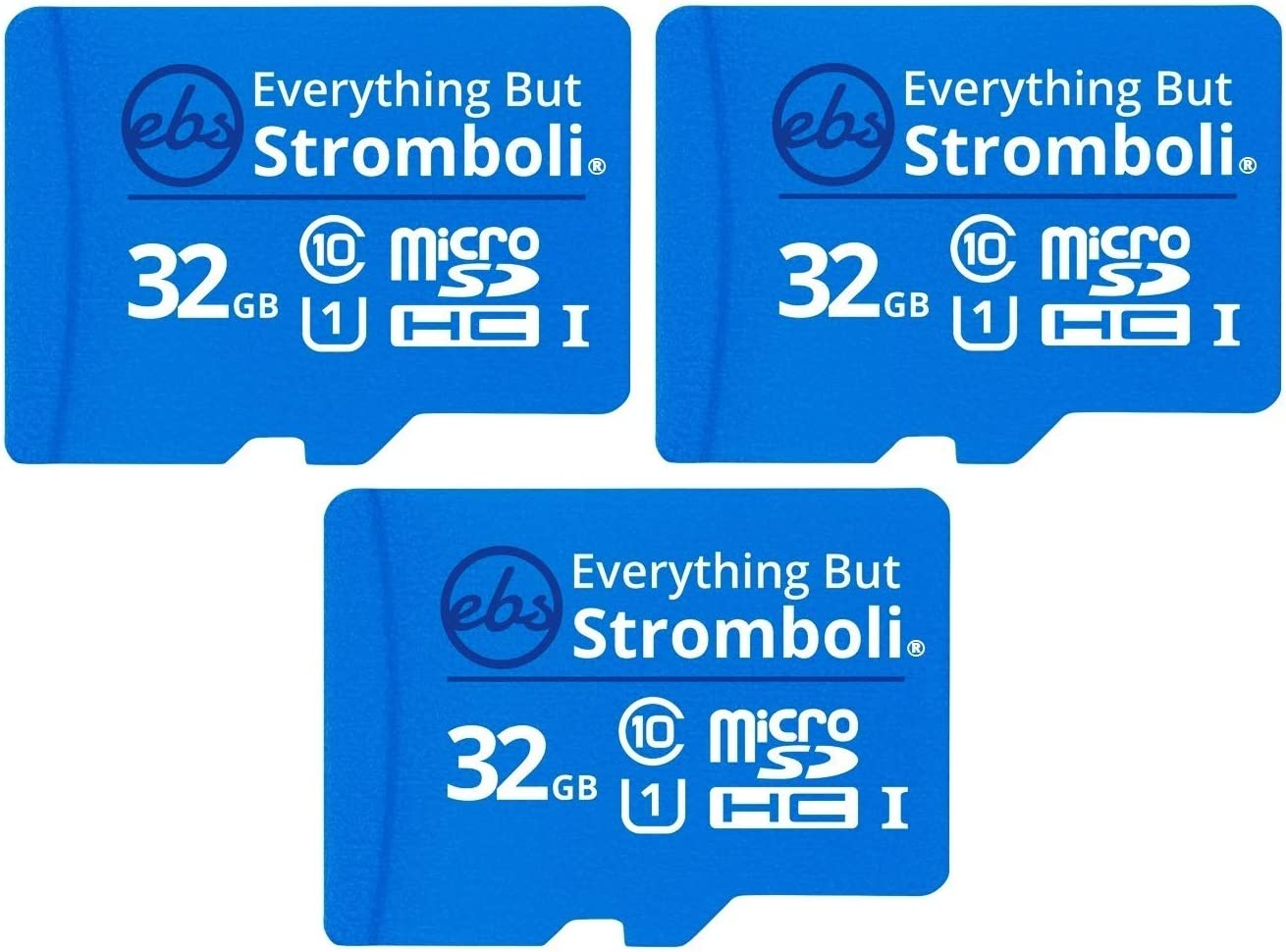Everything But Stromboli 32GB Micro SD Memory Card w/Adapter (Bulk 3 Pack) Class 10, U1, UHS-1, TF MicroSDHC Card for Compatible Dash Cam, Phone, Action Cameras, Security Cam, Switch, Digital Camera
