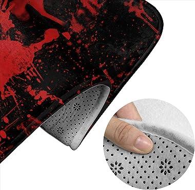 Memory Foam Classic Horror Blood Splatter Black Red 2 Piece Bath Rug Set Cool Decoration U-Shaped Contour Rug for Bathroom Ba