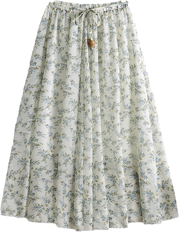 Summer Floral Print A Line Pleated Long Skirts Women Drawstring Elastic Waist Midi Skirt