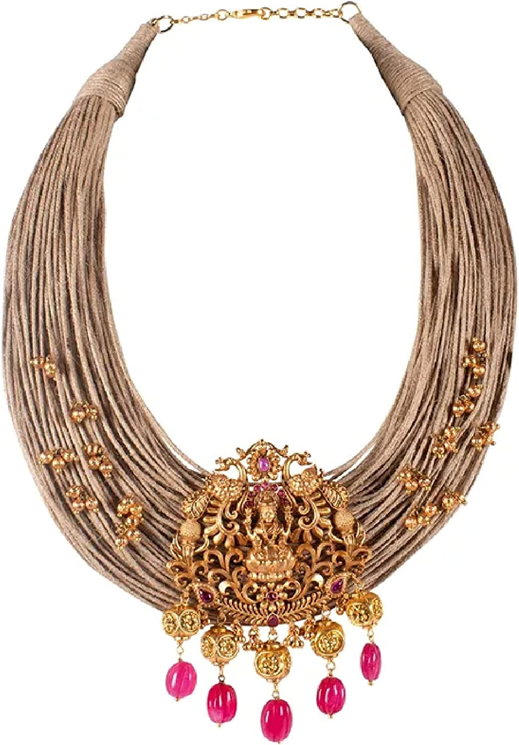 Antique Gold Plated Jute Thread Pink hydro Ruby Stones & Tumbles Lakshmi Designer Choker Necklace Set   Indian Temple Jewelry