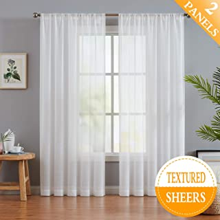 Fmfunctex White Sheer Curtains 108 inches Long for Living Room Slub Textured Outdoor Curtains Semi-Sheer Window Drapers for Bedroom 52