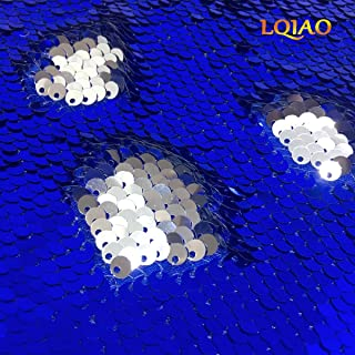 LQIAO 125x90cm Mermaid Sequin Fabric-Royal Blue Silver, Reversible Sequin Fabric Flip Up Sparkly Fabric for Cushion Cover Curtain Table Linens Decoration(1 Yards)