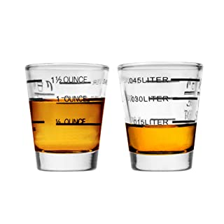 Beautyflier Pack of 2 Cocktail Wine Jigger Clear Glass Shot Glasses Drink Spirit Measure Cup For Measurement Bar Party Kitchen Tool