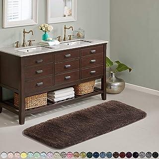 Suchtale Large Bathroom Rug Extra Soft and Absorbent Shaggy Bathroom Mat(24 x 60, Brown) Machine Washable Microfiber Bath ...