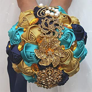 S_SSOY Customization Brooch Wedding Bouqeut Bridal Bride Bridesmaid Holding Ribbon Rose Flowers Bouquets for Valentine's Day Church Confession (Gold Peacock Blue, Diameter 5.9 inches)