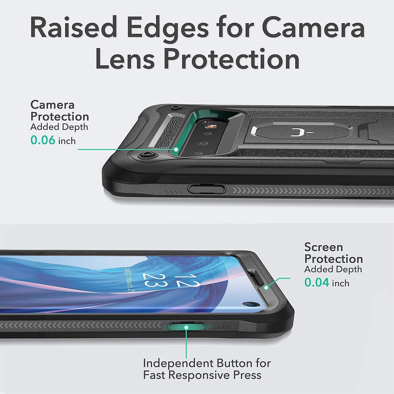 YOUMAKER Coque Galaxy S10 avec Support Protection Lourde avec Protecteur d/écran Int/égr/é Adapt/ée pour Samsung Galaxy S10 6.1 Pouces Rose//Gris
