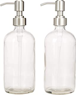 2-Pack Dispenser Pump Bottles for Kitchen and Bathroom - Dish Soap, Hand Soap, Shampoo, Lotion, Mouthwash, and More - Rust Proof Stainless Steel Pump - Heavy 17.5 Ounce Glass Bottle