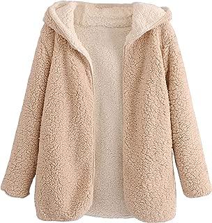 Aofshe Women's Reversible Open Front Shaggy Cardigan Oversized Hooded Fleece Teddy JacketCoat with Pockets