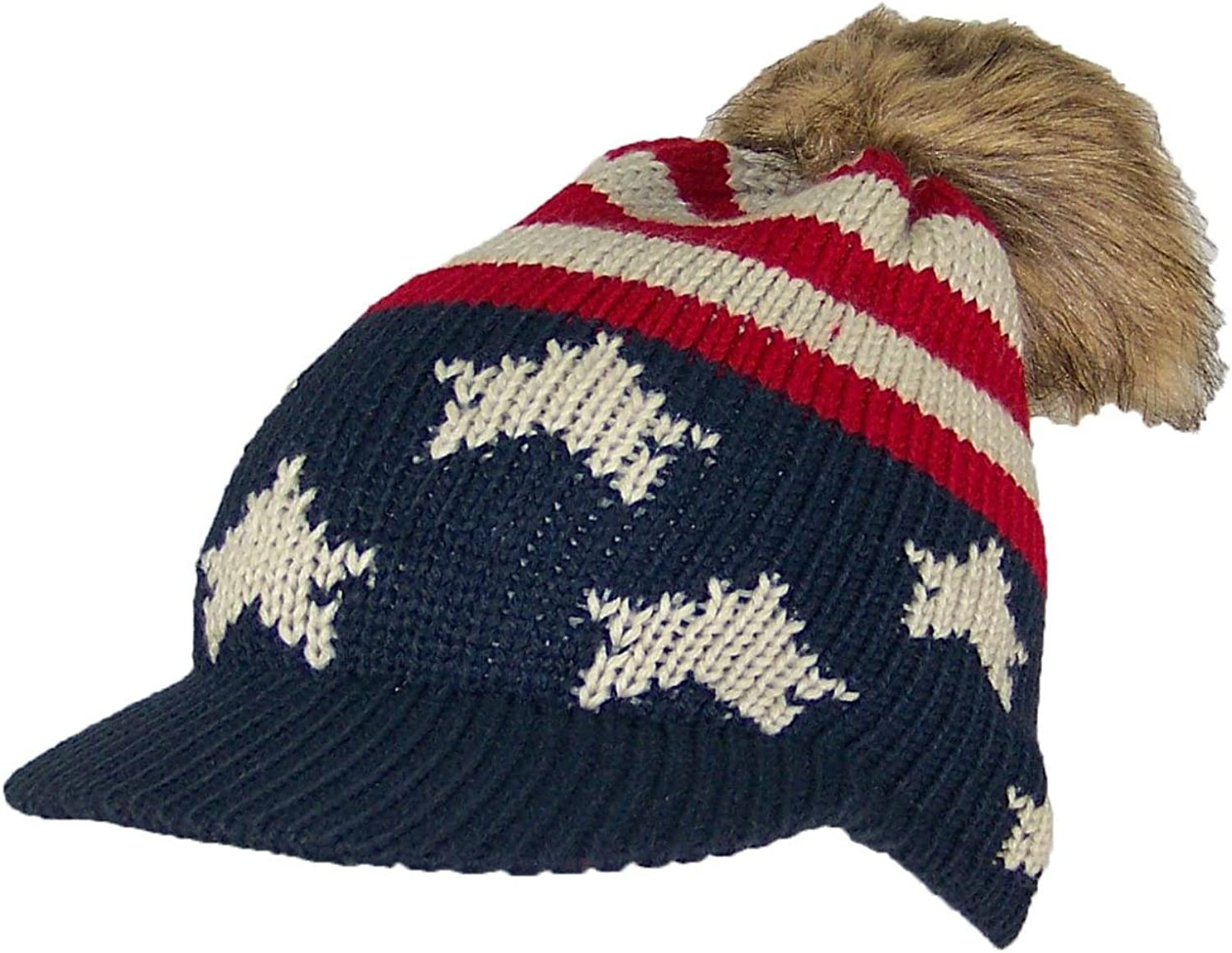David & Young Adult American Flag Visor Beanie W Pom Pom (One Size)(Small)