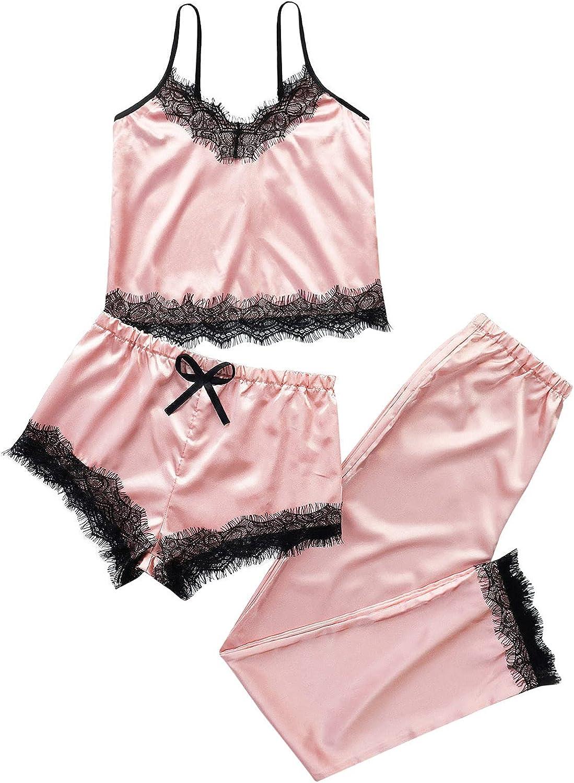 Intimates for Women Lingerie, Womens Pajamas Cool Satin Cami Shorts Set Lightweight Nightwear Silk Pajamas for Women