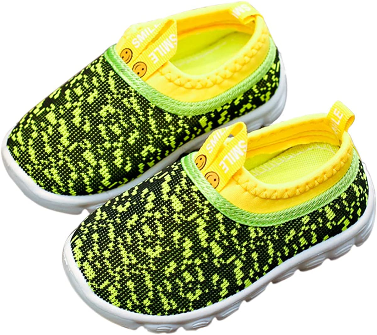 DEBAIJIA Toddler Shoes 1-4T Baby First-Walking Kid Shoes Speck Trainers Soft Sole Non Slip Mesh Breathable Lightweight PVC Material Slip-on