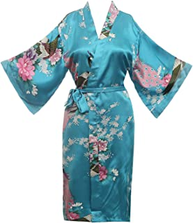 Women's Kimono Robe Peacock & Blossoms Satin Nightwear