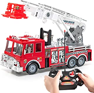 Prextex RC Fire Engine Truck Remote Control 13-Inch Rescue Fire Truck with 17-Inch Extendable Ladder and Lights and Sirens Best Gift Toy for Boys