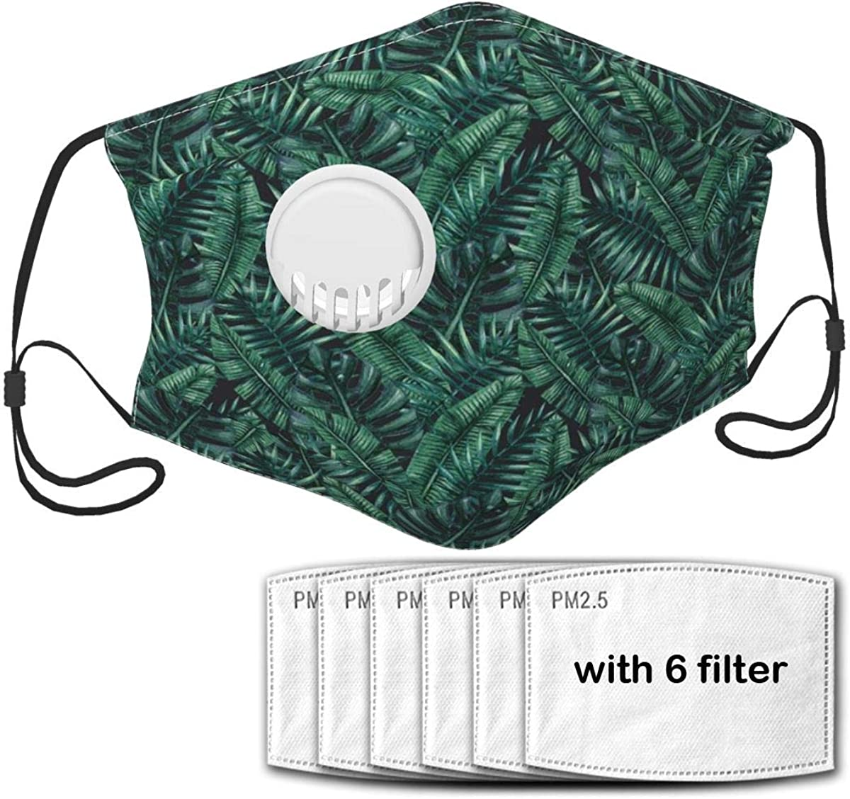 Face Mask Balaclava Nose Mouth Cover Teens Kids Watercolor Tropical Jungle Leaves Pattern Fresh Rainforest Hawaii Summer