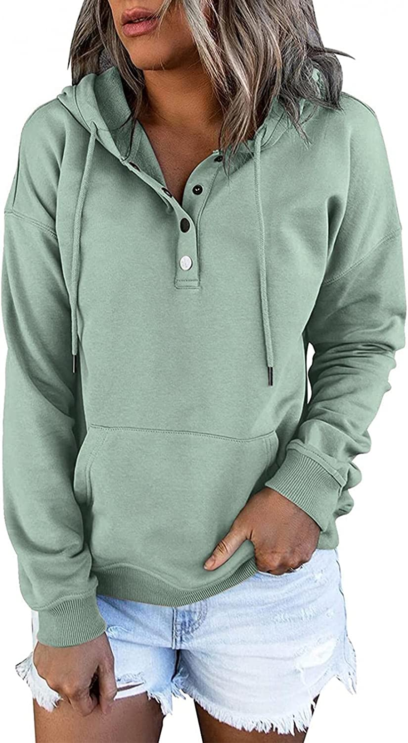 AODONG Pullover for Womens Button Down Hoodies Drawstring Hooded V Neck Loose Long Sleeve Casual Sweatshirts with Pocket