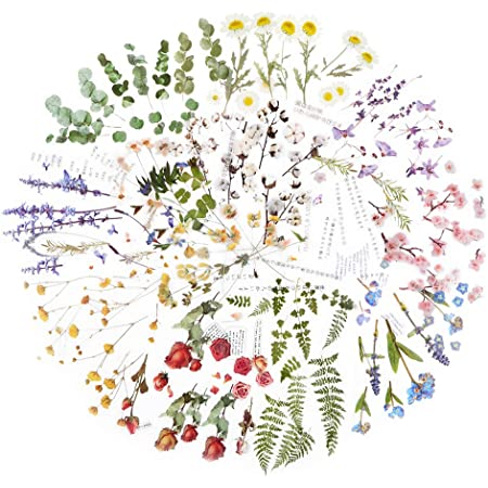 12 Feuilles Autocollants Stickers Motifs Fleurs Naturel Gommettes Décoratifs 110 x 150mm Etiquettes Adhésif de DIY Scrapbooking Album Photo (Style B)