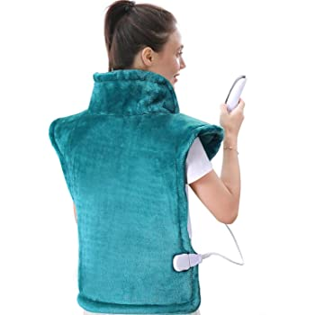 """Large Heating Pad for Back and Shoulder Pain, 24""""x33"""" Heat Wrap with Fast-Heating and 5 Heat Settings for Sport Sorness and Cramps Relief, Auto Shut Off Available-Lake Green"""