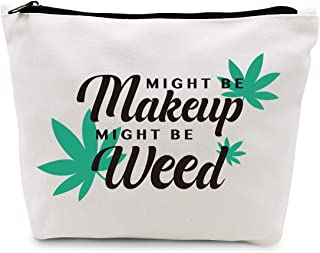 Ihopes Funny Marijuana Weed Leaf Makeup Cosmetic Bag Cotton Zipper Pouch   Might Be Makeup Might Be Weed Cosmetic Travel B...