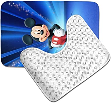 OKIJH Mickey Mouse Bathroom Antiskid Pad Non-Slip Bath Carpet Floor Mat Rug 2 Sets -Floor Mat+U-Shaped Pad, Toilet Washable Blanket Mats for Bathroom Home Shower